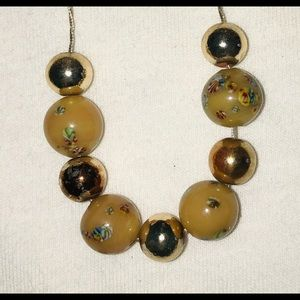 Necklace Gold Thread Painted Beads